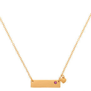 Gold June Birthstone Bar Pendant Necklace - Light Amethyst,