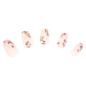 Floral Matte Coffin Faux Nail Set - Pink, 24 Pack,