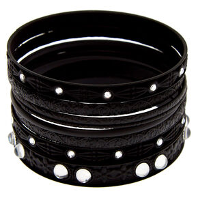 Gothic Glam Bangle Bracelets - Black, 8 Pack,