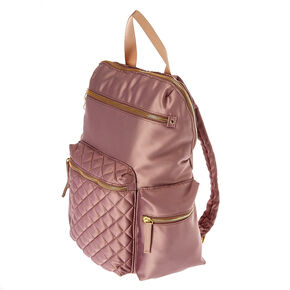 Quilted Purple Satin Backpack,