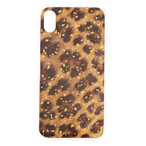 Gold Foil Flake Leopard Phone Case - Fits iPhone XR,