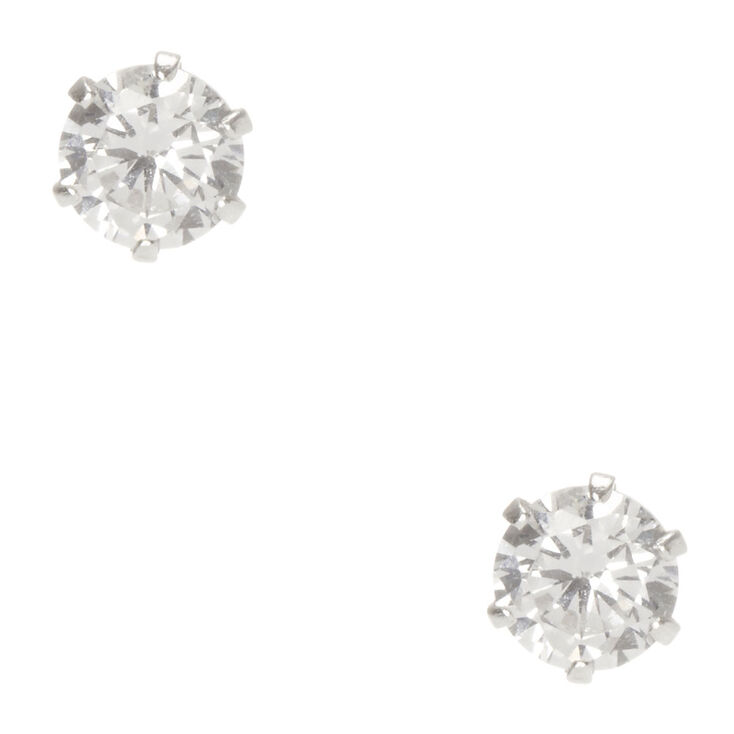 Crystal Sterling Silver Stud Earrings,