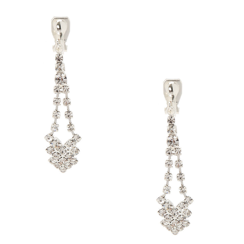 Clip On Earrings Store Long Triple Strand Diamante Crystal Drop Clip On Earrings 4Sdw99R
