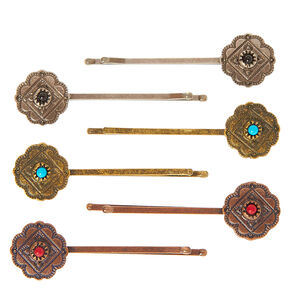 Antique Metal  Medallion Bobby Pins,