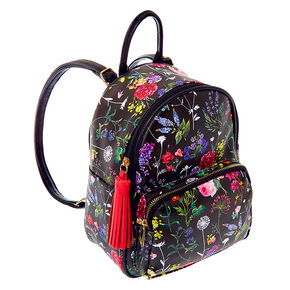Botanical Floral Small Backpack - Black,