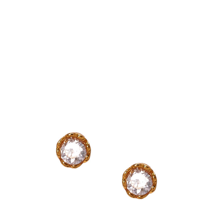 3MM Gold Plated Cubic Zirconia Heart Set Earrings,