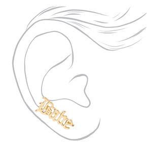 Gold Babe Script Ear Crawler Stud Earrings,