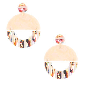"Gold 1.5"" Striped Tortoiseshell Drop Earrings - Pink,"