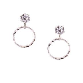Sterling Silver Cubic Zirconia Ridge Circle Hoop Earrings,