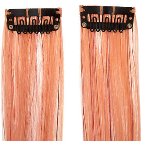 Rose Gold Faux Hair Clip In Extensions - Pink, 2 Pack,