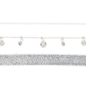 Silver Glitter Choker Necklaces - 3 Pack,