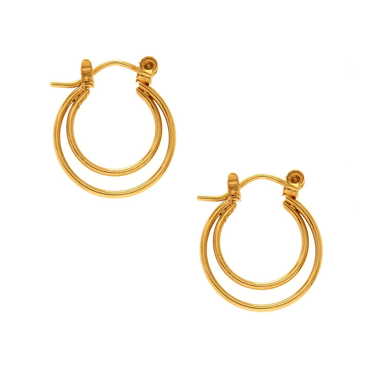 18kt Gold Plated Double Layered Hoop Earrings,