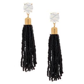 "3"" Beaded Tassel Drop Earrings - Black,"