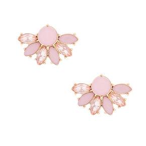 Gold Crystal Fan Stud Earrings - Pink,