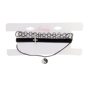 Black Tattoo & Velvet Chokers with Silver Cross & Yin Yang Pendant Necklaces  - 4 Pack,