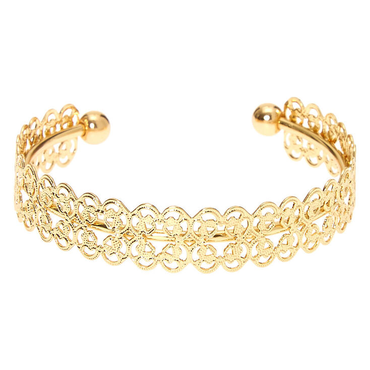 Gold Filigree Cuff Bracelet,