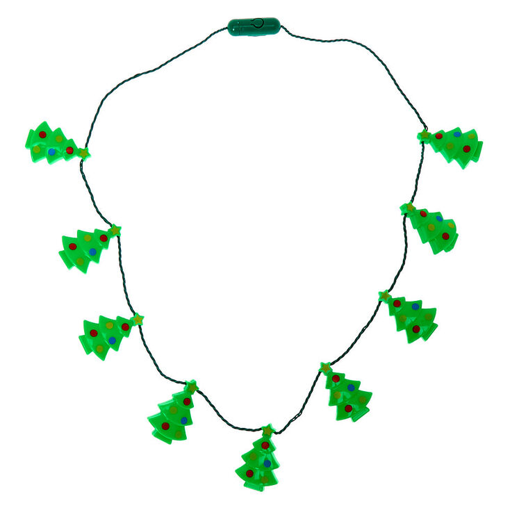 Light Up Christmas Tree Necklace - Green,