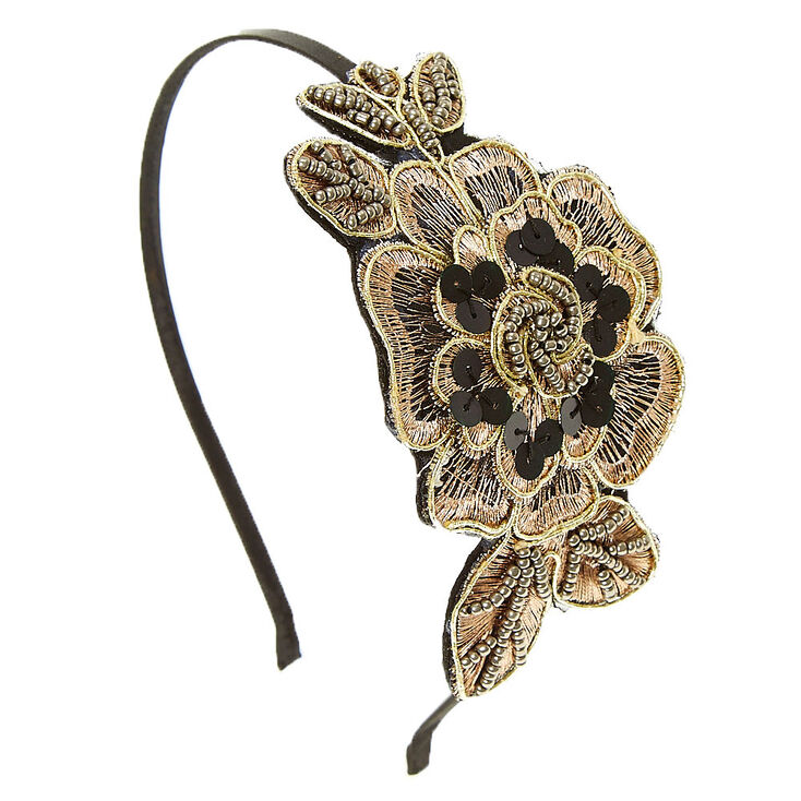 Copper Flower Bead Applique Headband,