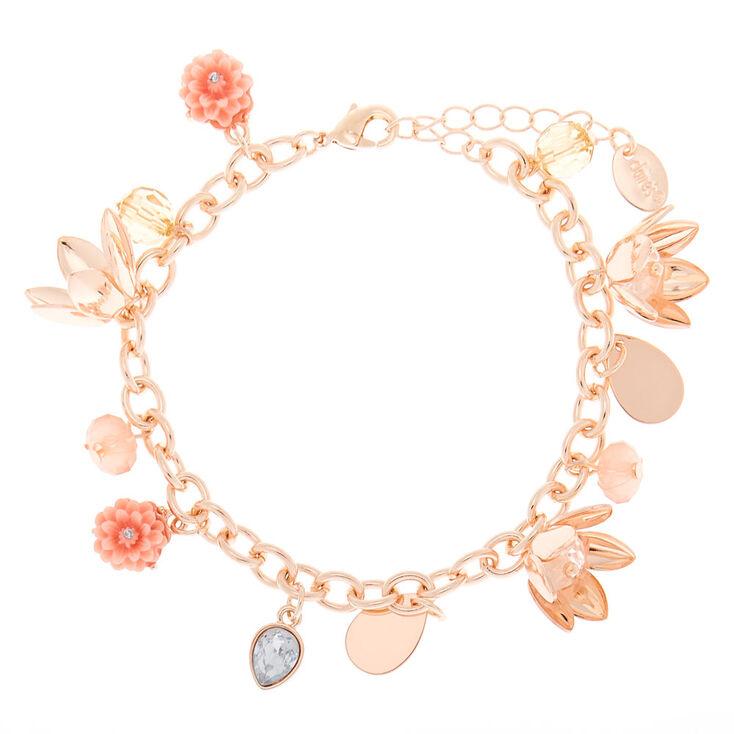 Rose Gold Floral Charm Bracelet - Pink,