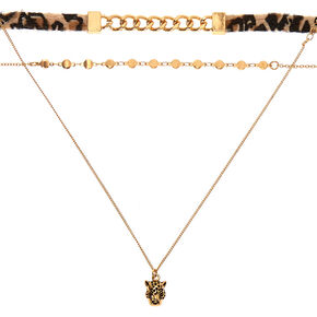 Gold Leopard Choker Necklaces - 3 Pack,
