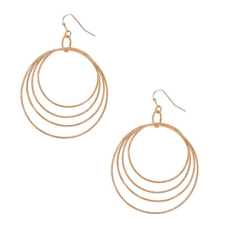 Golden Circle Drop Earrings,