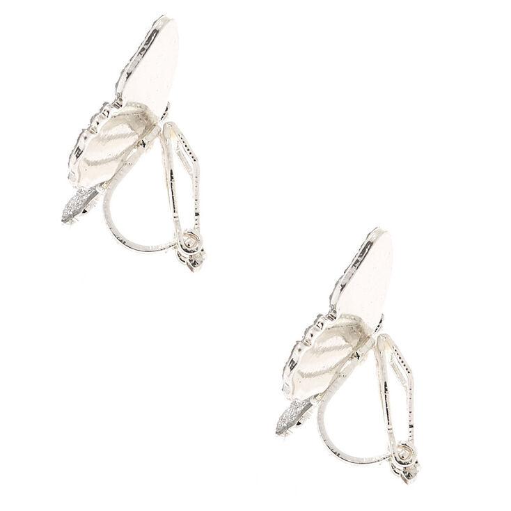 Silver Glitter Butterfly Clip On Stud Earrings,