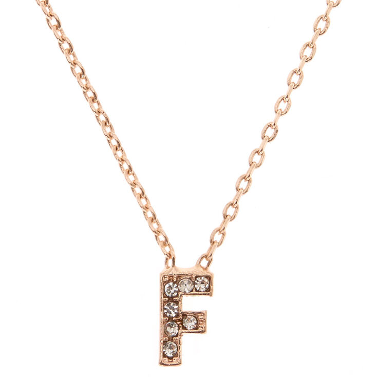 "Rose Gold Studded ""F"" Initial Necklace,"
