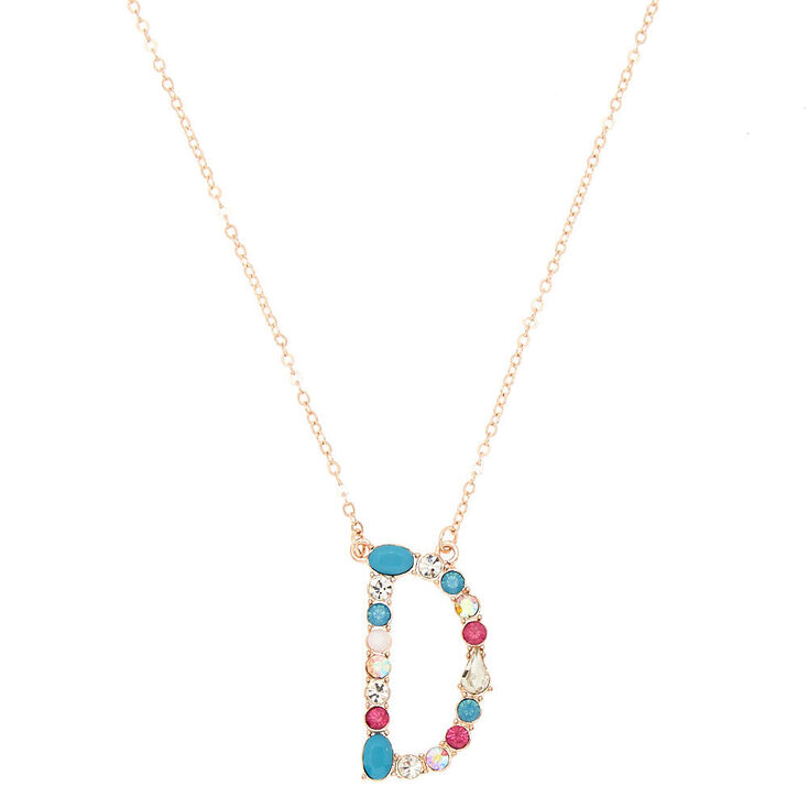 Embellished Long Initial Pendant Necklace - D,