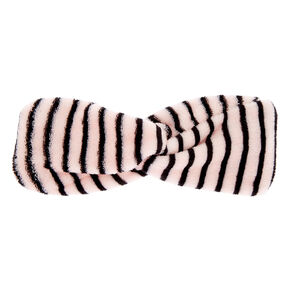 Striped Knotted Makeup Headwrap - Pink,