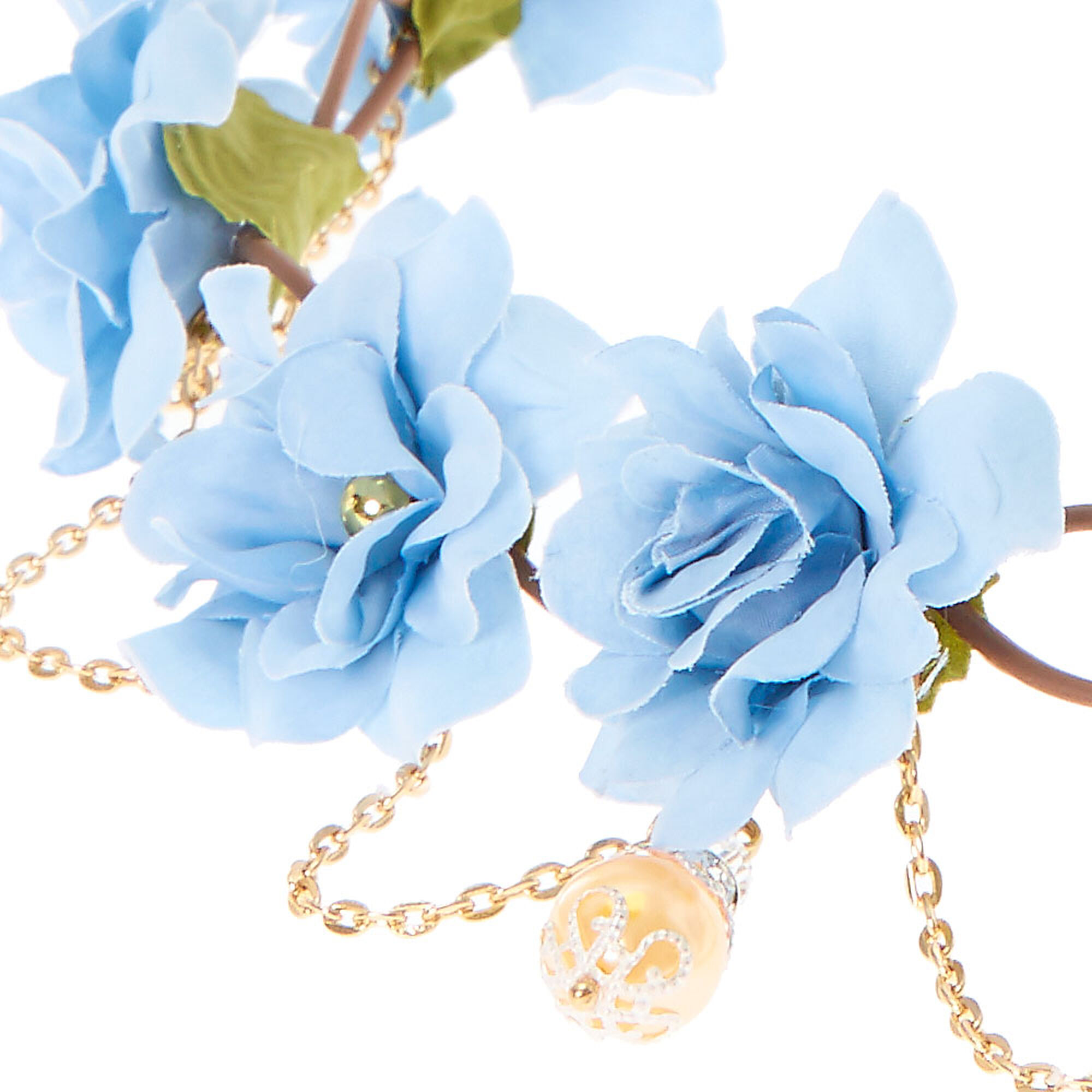 Blue flowers golden chain hair flower crown icing us blue flowers amp golden chain hair flower crown izmirmasajfo