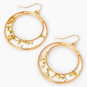 """Gold 1.5"""" Resin Floral Hoop Drop Earrings - Yellow,"""