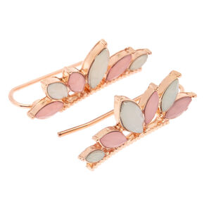 Blush Stone Ear Crawler Earrings,