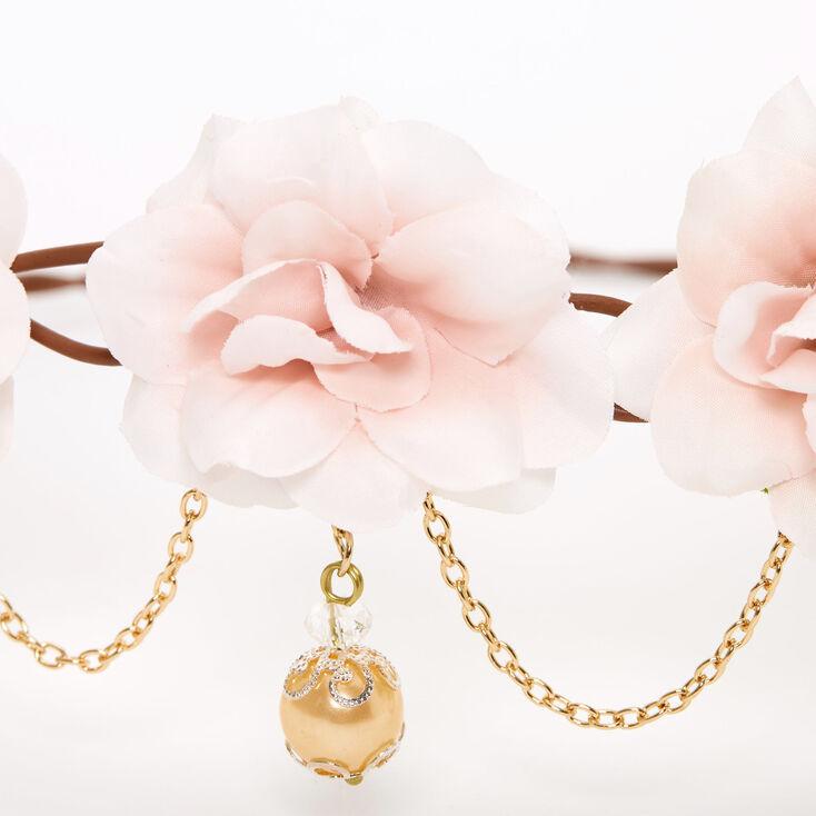 Gold Chain Flower Vine Headwrap - Nude Pink,