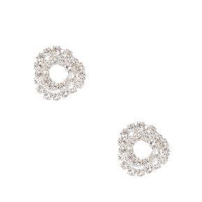 Silver Mini Crystal Knot Stud Earrings,