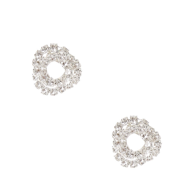 Silver Mini Crystal Knot Stud Earrings,