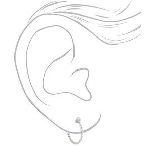 Silver 15MM Textured Clip On Hoop Earrings - 3 Pack,