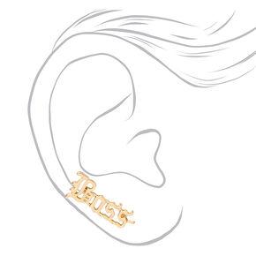 Gold Boss Script Ear Crawler Stud Earrings,