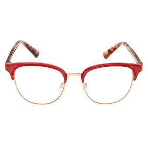 Tortoiseshell Browline Clear Lens Frames - Berry,