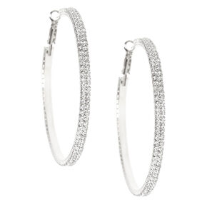 Silver Rhinestone 60MM Hoop Earrings,
