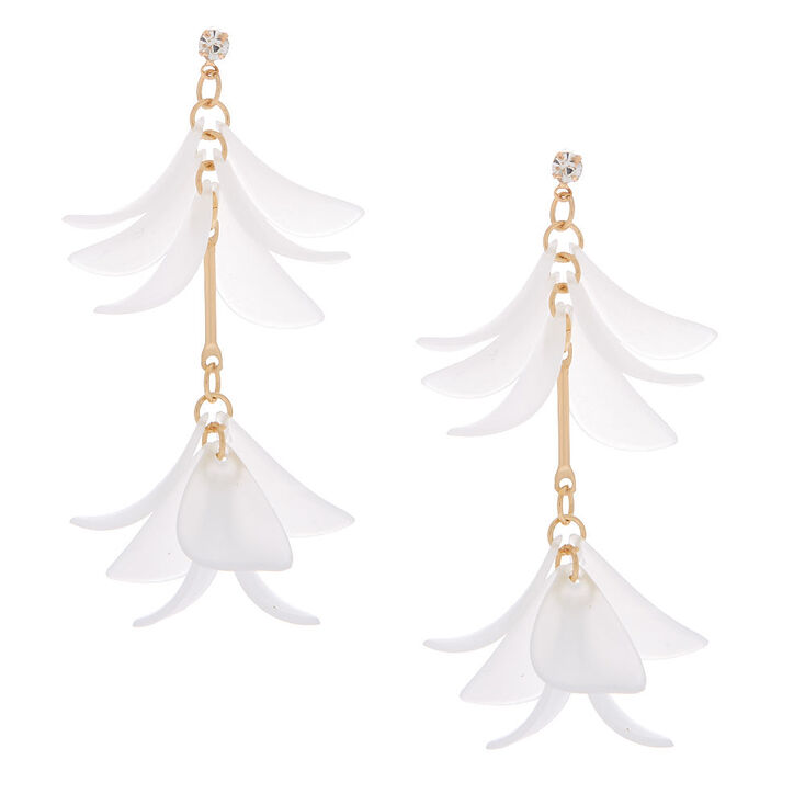 """Gold 2"""" Flower Petal Drop Earrings - Clear,"""