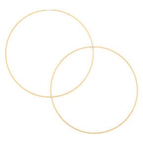 Gold 100MM Textured Hoop Earrings,