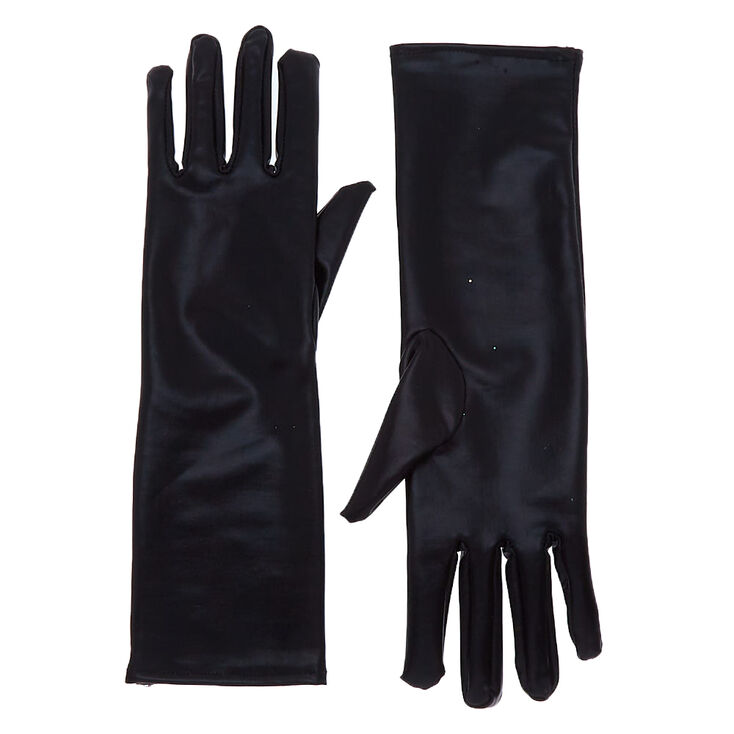 Vintage Style Gloves- Long, Wrist, Evening, Day, Leather, Lace Icing Faux Leather Gloves - Black $7.99 AT vintagedancer.com