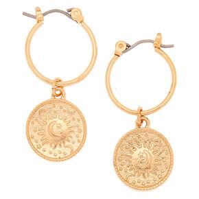 Gold 15MM Coin Charm Hoop Earrings,