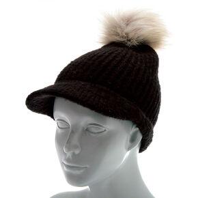 Knit Visor Pom Beanie - Black,