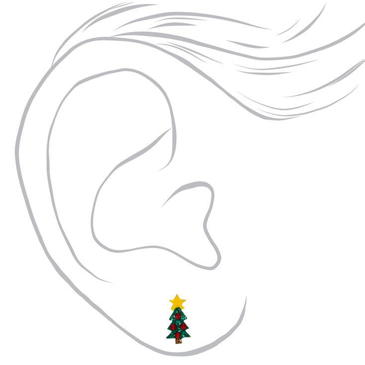 Sterling Silver d & Green Holiday Tree Stud Earrings,