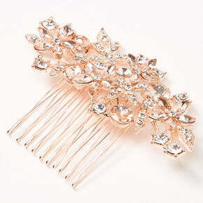 Rose Gold Rhinestone Bouquet Hair Comb,
