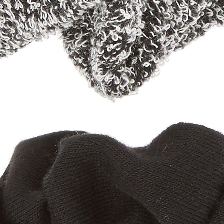 Small Black & Gray Hair Scrunchies - 2 Pack,