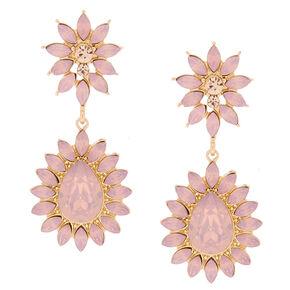 Crystal Flower Drop Earrings - Blush,