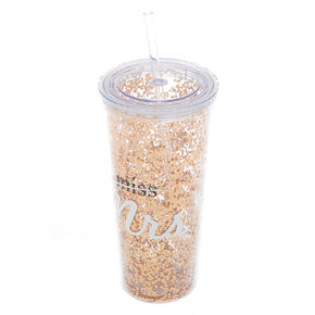 Miss to Mrs. Glitter Tumbler Cup - Rose Gold,