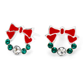 Sterling Silver Holiday Wreath Stud Earrings,